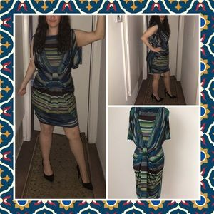 Green and brown striped dress Size 8